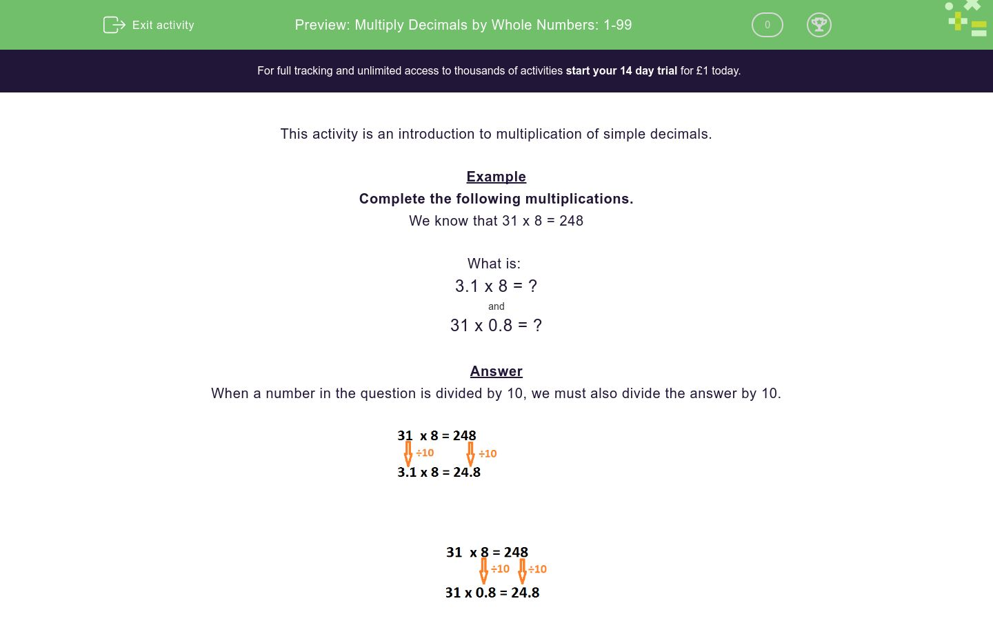 'Multiply Decimals by Whole Numbers: 1-99' worksheet