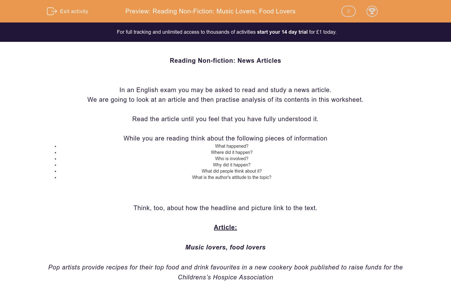 'Reading Non-Fiction: Music Lovers, Food Lovers' worksheet