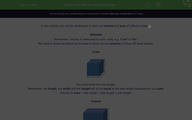 'Use Area and Volume Formulae' worksheet
