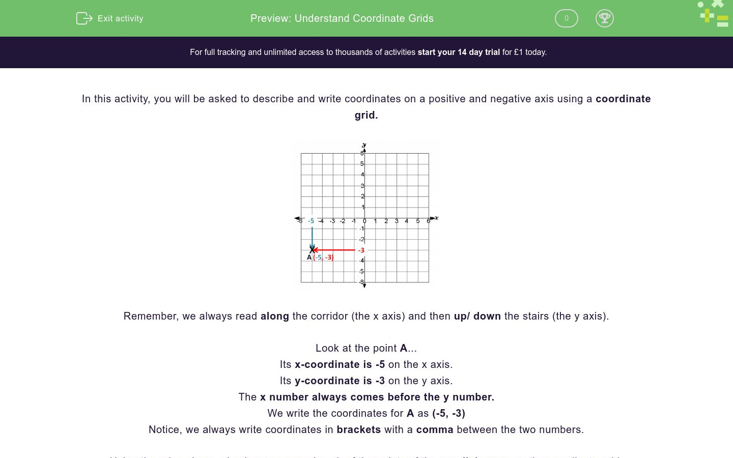 'Understand Coordinate Grids ' worksheet