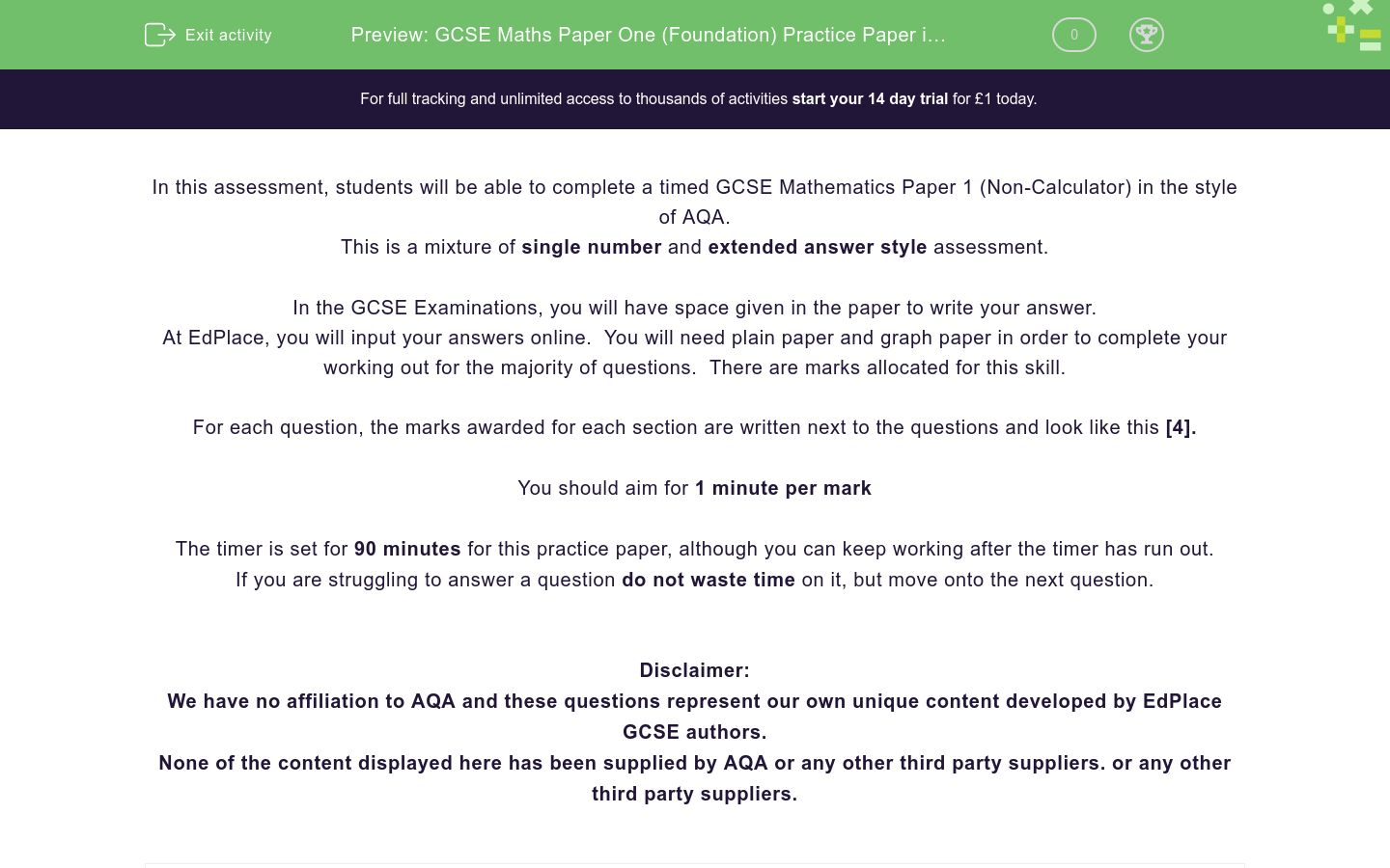 'GCSE Maths Paper One (Foundation) Practice Paper in the Style of AQA - Non Calculator' worksheet