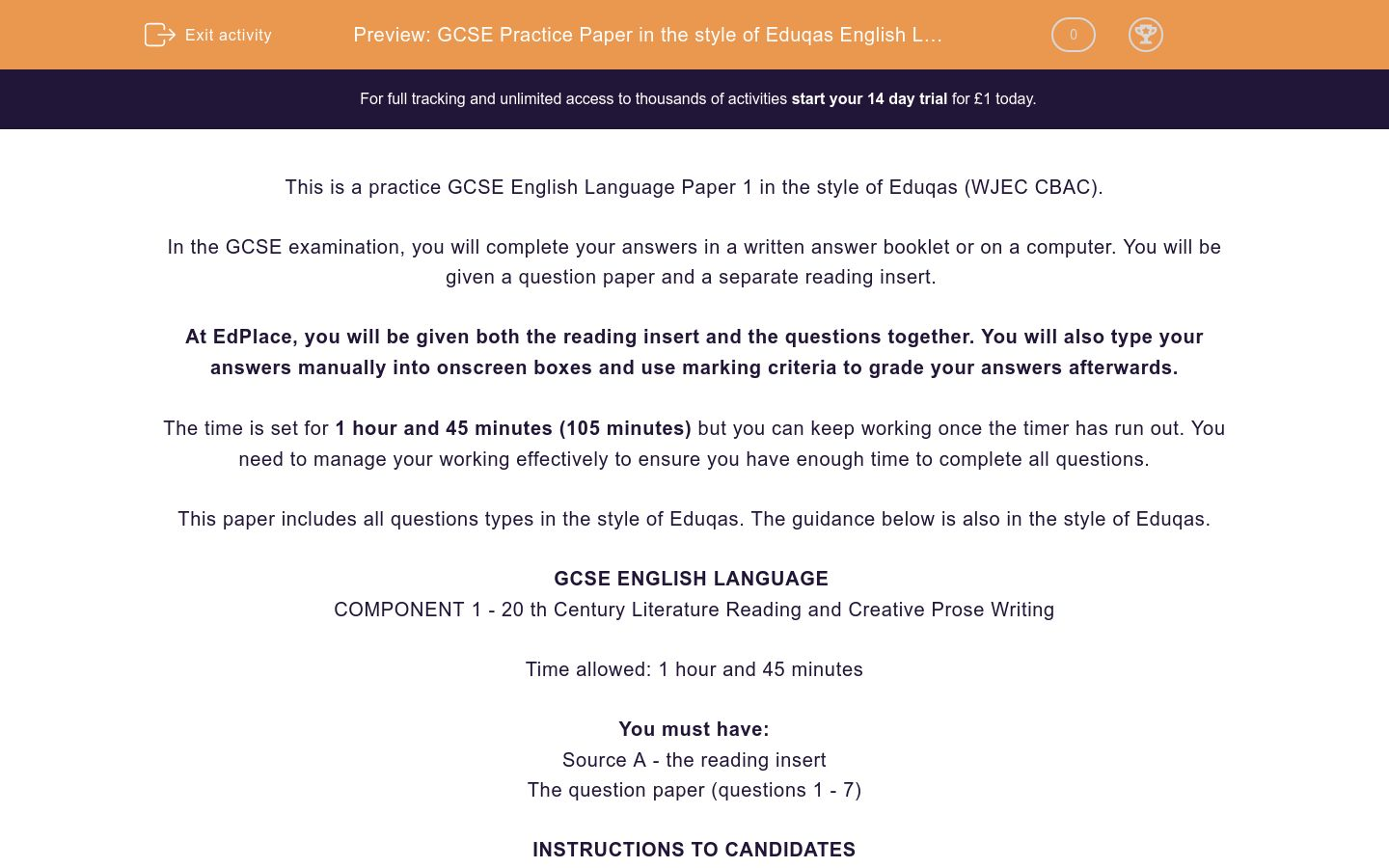 'GCSE Practice Paper in the style of Eduqas English Language Paper 1' worksheet