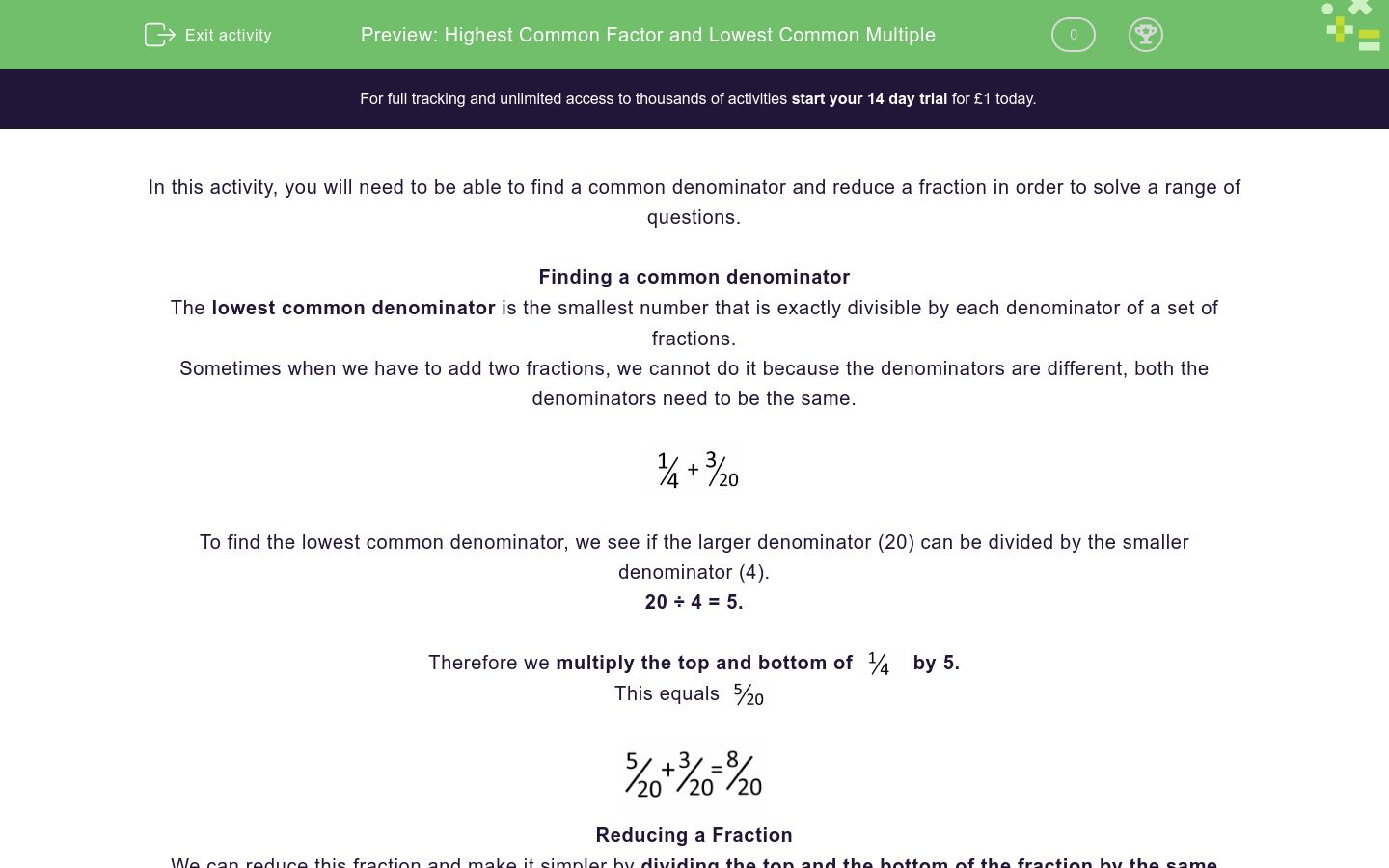 'Highest Common Factor and Lowest Common Multiple' worksheet