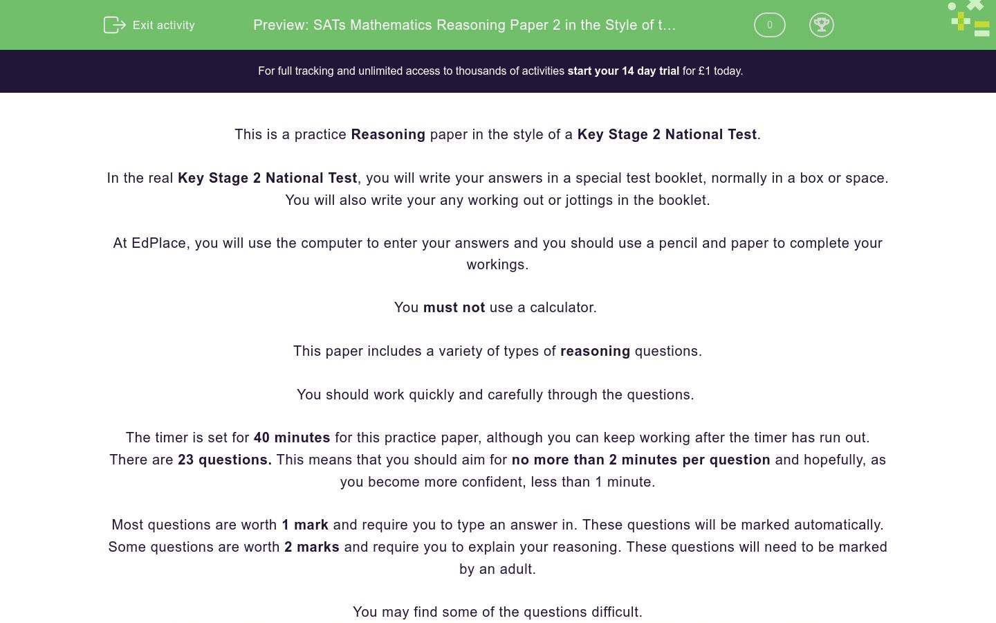 'SATs Mathematics Reasoning Paper 2 in the Style of the Key Stage 2 National Tests (Practice 3)' worksheet