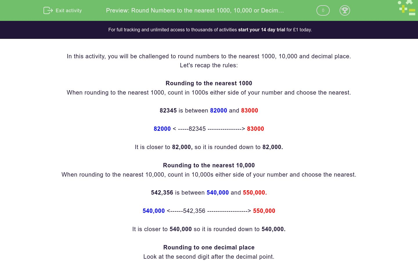 'Round Numbers to the nearest 1000, 10,000 or Decimal Place' worksheet