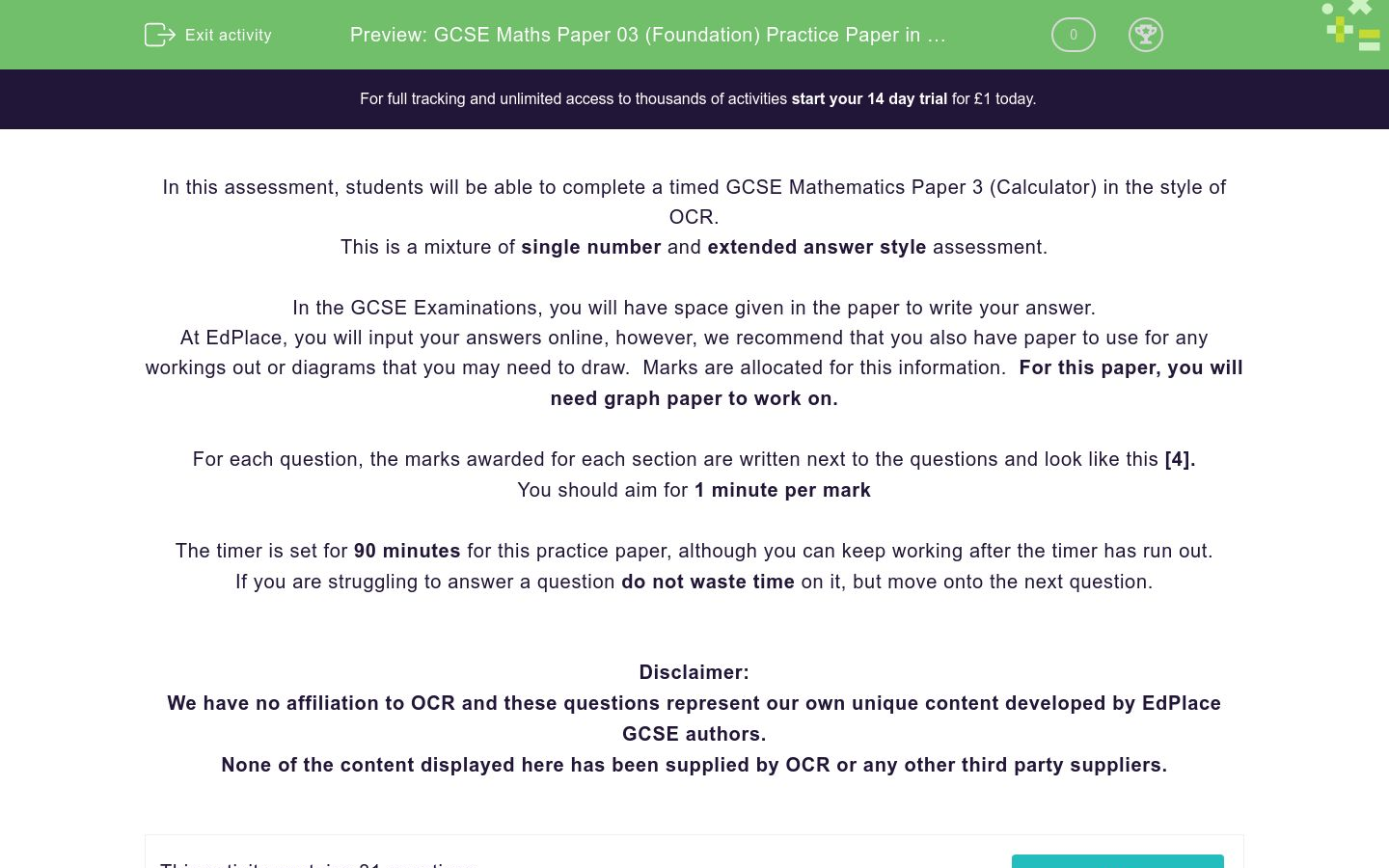 'GCSE Maths Paper 03 (Foundation) Practice Paper in the Style of OCR - Calculator' worksheet