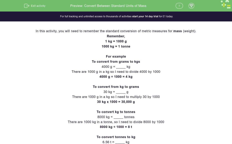'Convert Between Standard Units of Mass' worksheet