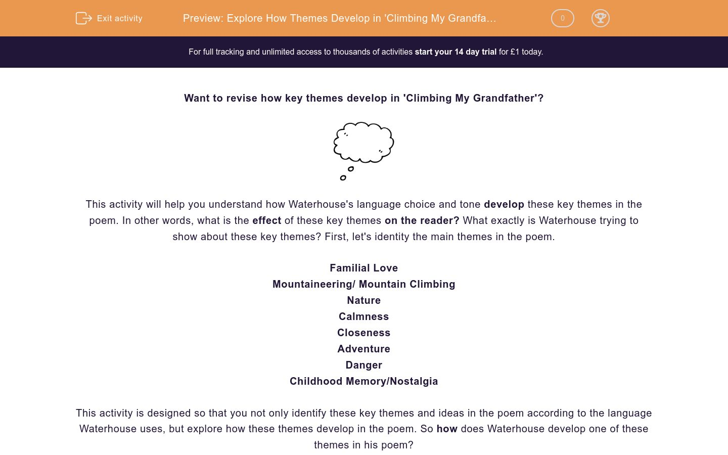 'Explore How Themes Develop in 'Climbing My Grandfather'' worksheet