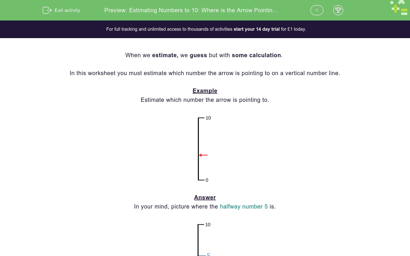 'Estimating Numbers to 10: Where is the Arrow Pointing? (2)' worksheet