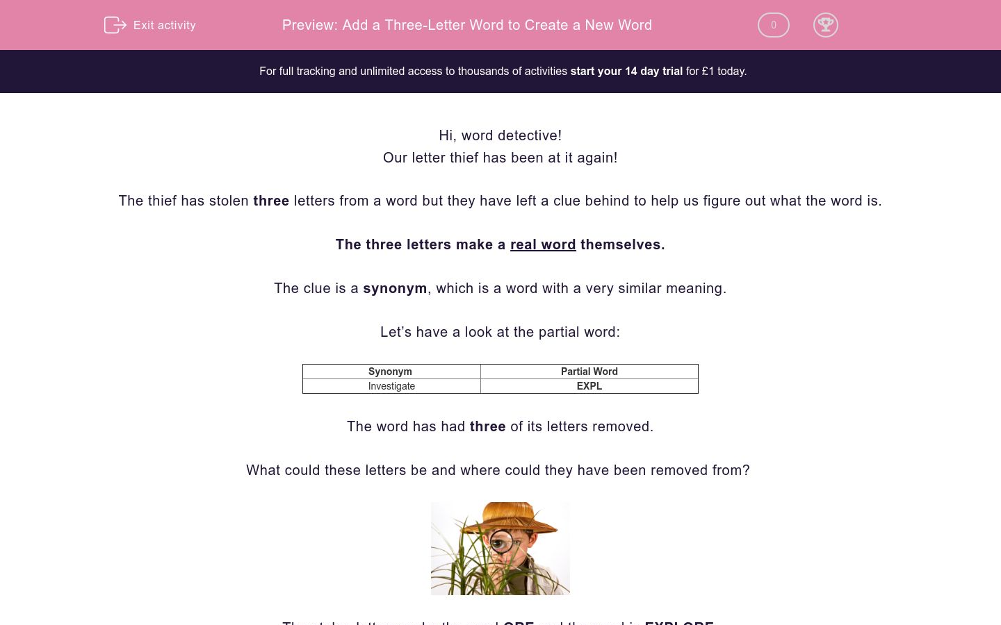 'Add a Three-Letter Word to Create a New Word' worksheet