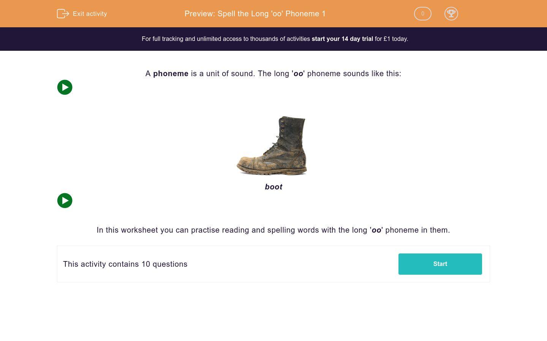 'Spell the Long 'oo' Phoneme 1' worksheet
