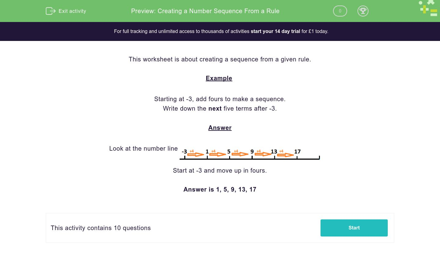 'Creating a Number Sequence From a Rule' worksheet