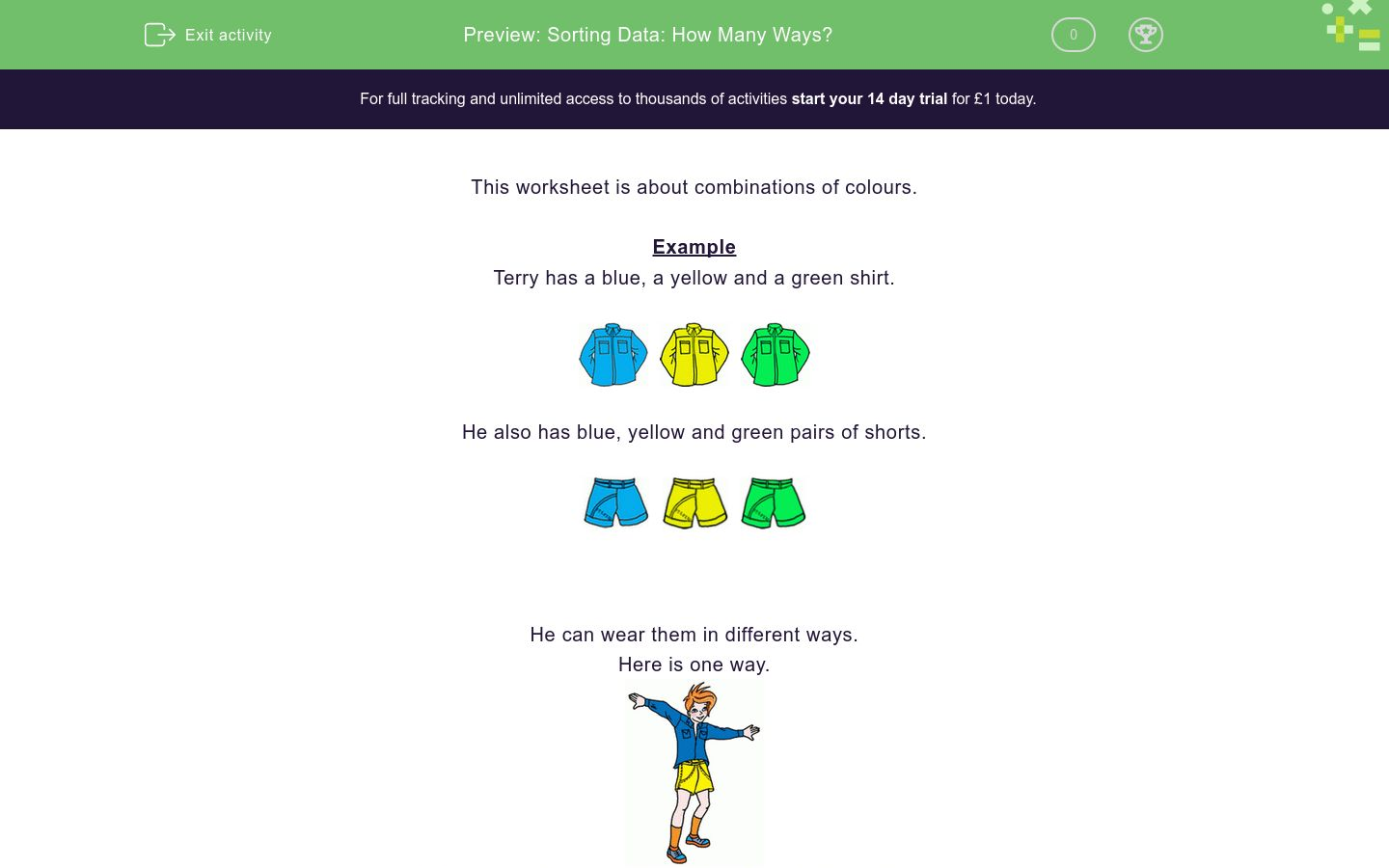 'Sorting Data: How Many Ways?' worksheet