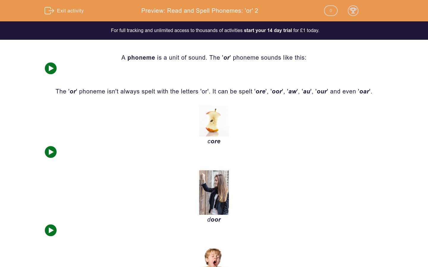 'Read and Spell Phonemes: 'or' 2' worksheet