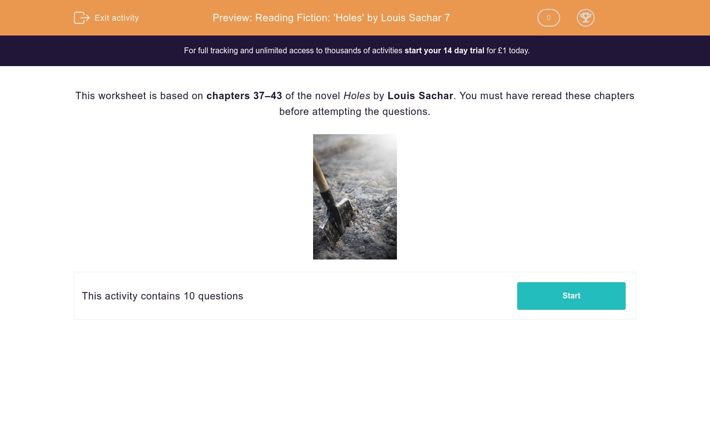 'Reading Fiction: 'Holes' by Louis Sachar 7' worksheet