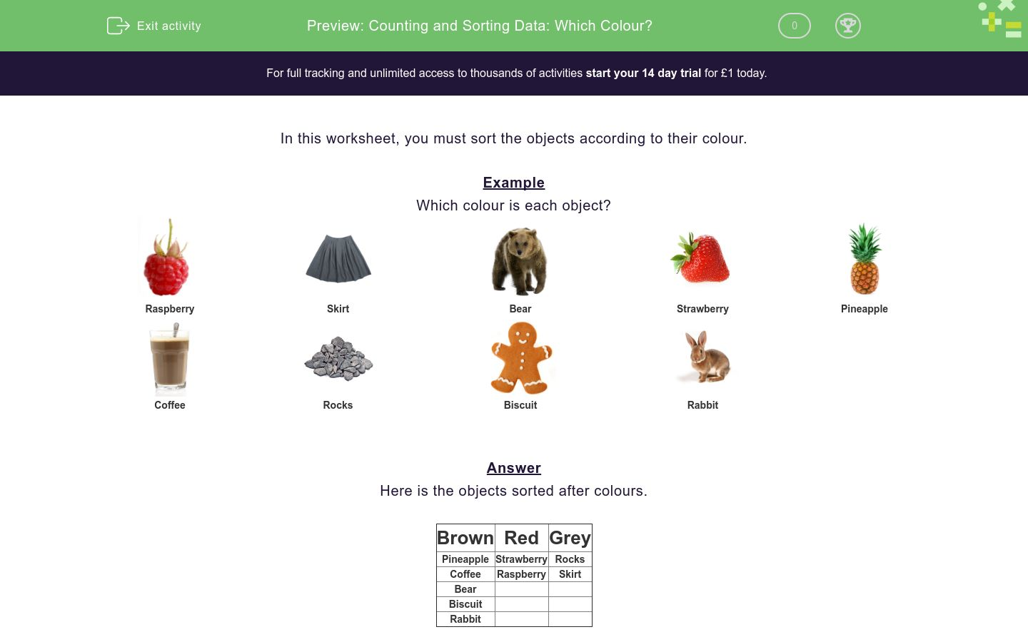 'Counting and Sorting Data: Which Colour?' worksheet