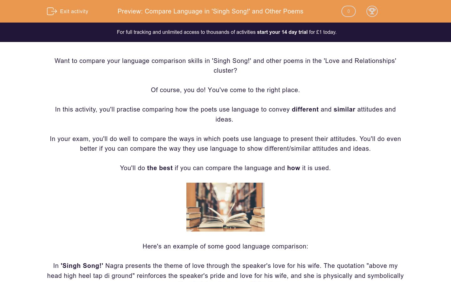 'Compare Language in 'Singh Song!' and Other Poems' worksheet