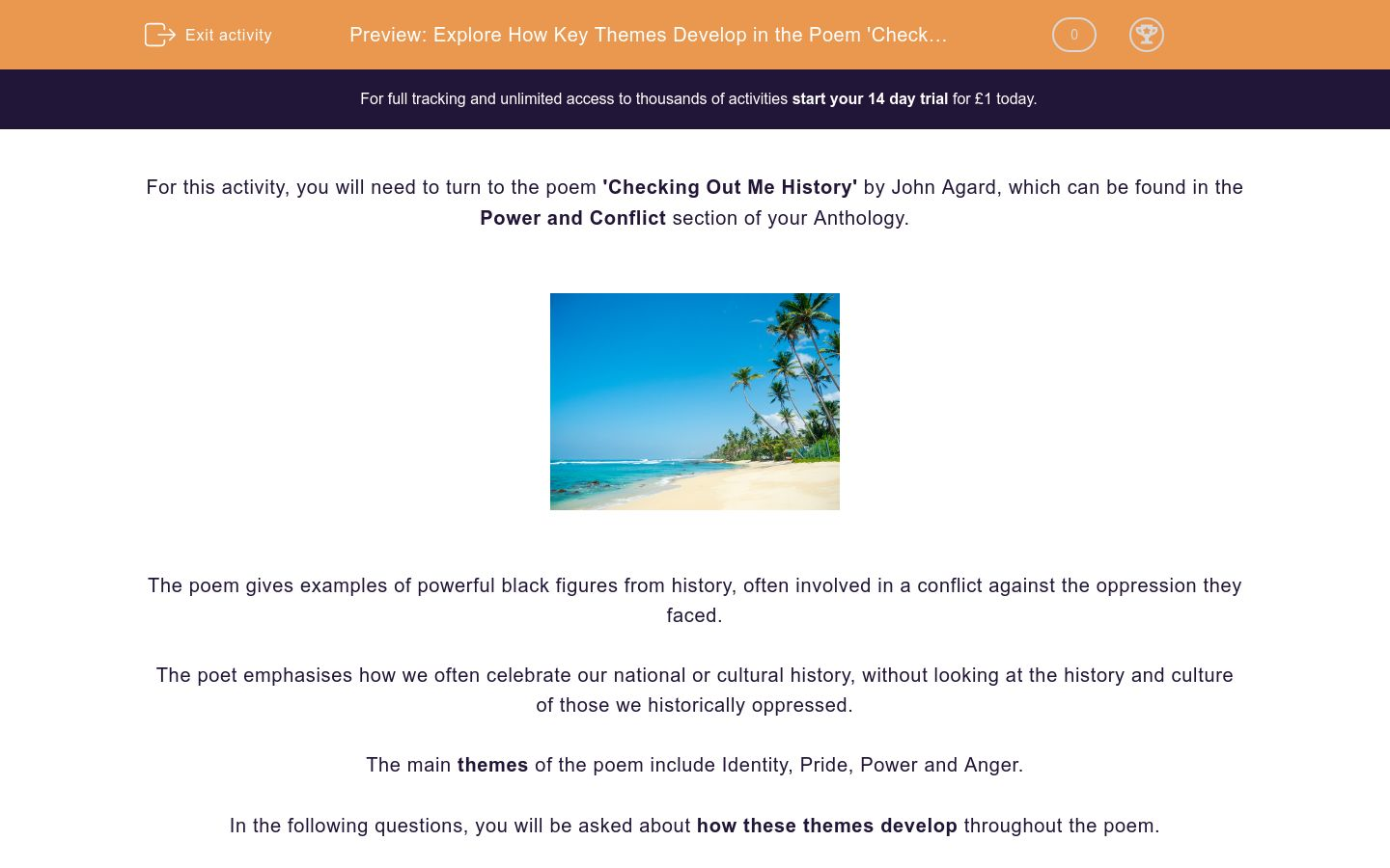 'Explore How Key Themes Develop in the Poem 'Checking Out Me History'' worksheet
