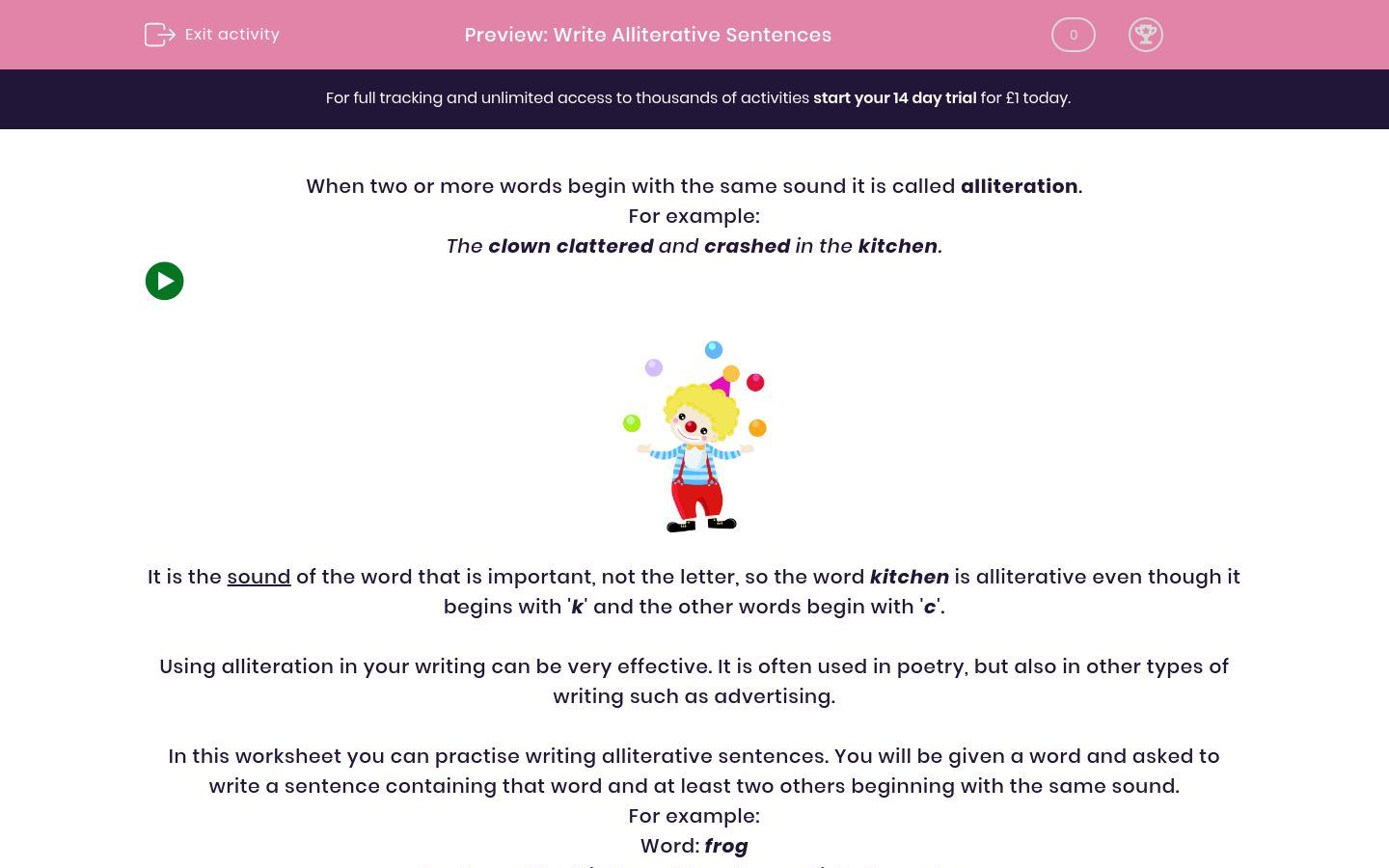 'Write Alliterative Sentences' worksheet