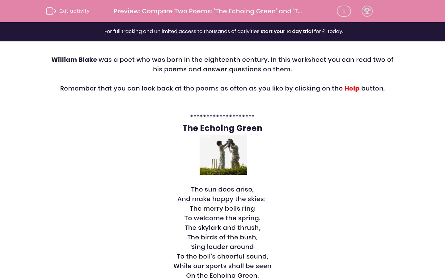 'Compare Two Poems: 'The Echoing Green' and 'The Chimney Sweeper'' worksheet