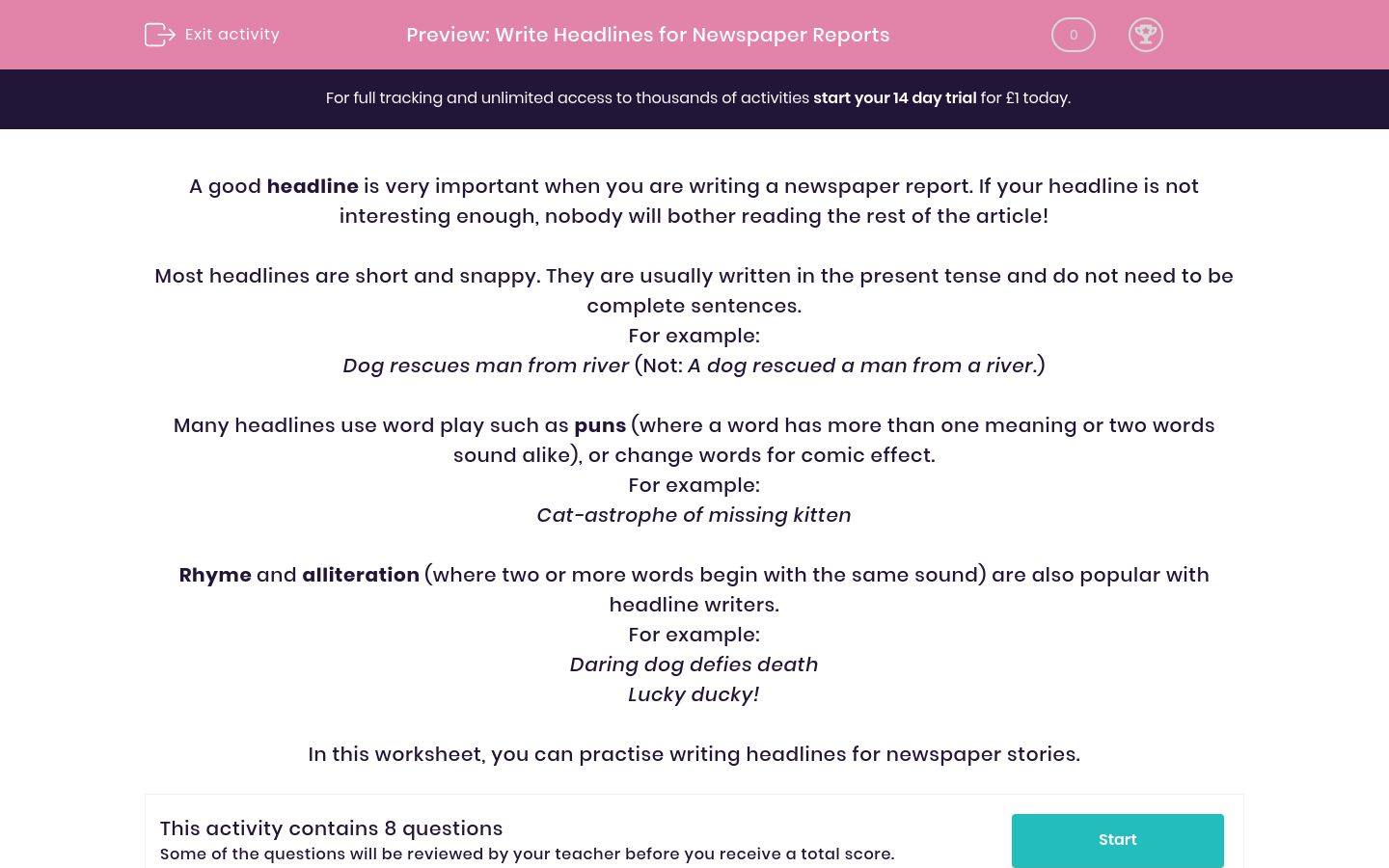 'Write Headlines for Newspaper Reports' worksheet