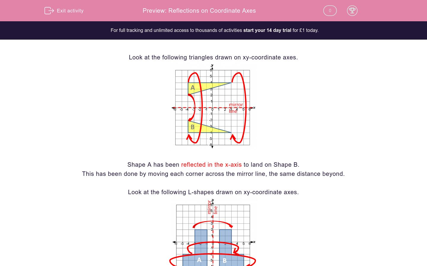 'Reflections on Coordinate Axes' worksheet