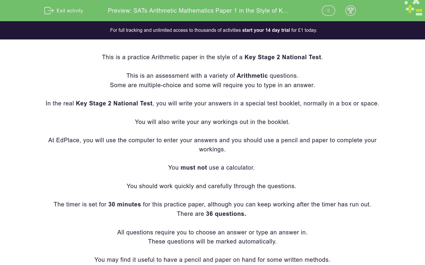 'SATs Arithmetic Mathematics Paper 1 in the Style of Key Stage 2 National Tests (Practice 2)' worksheet