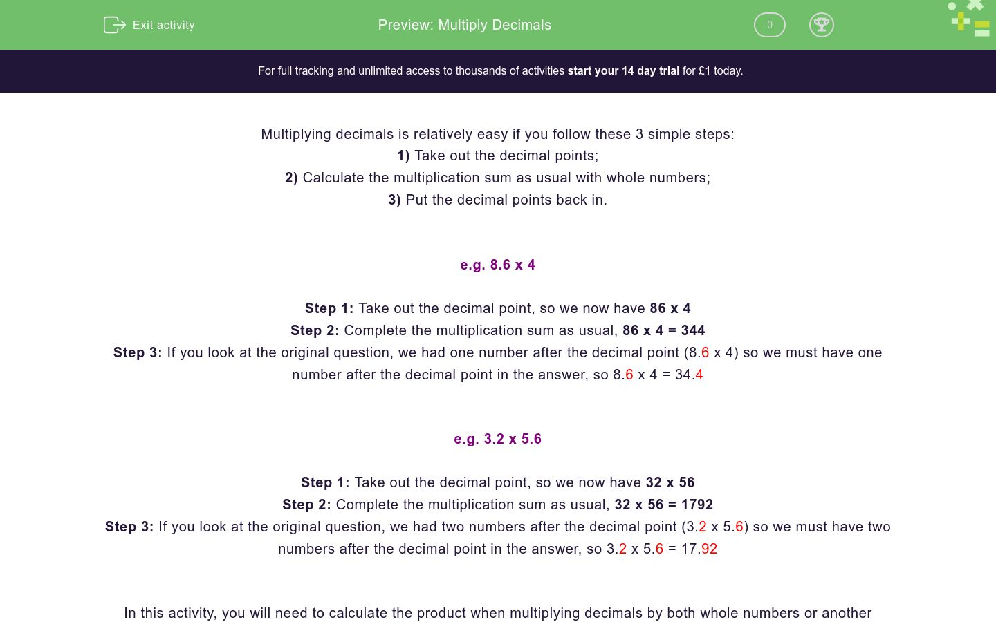 'Multiply Decimals' worksheet