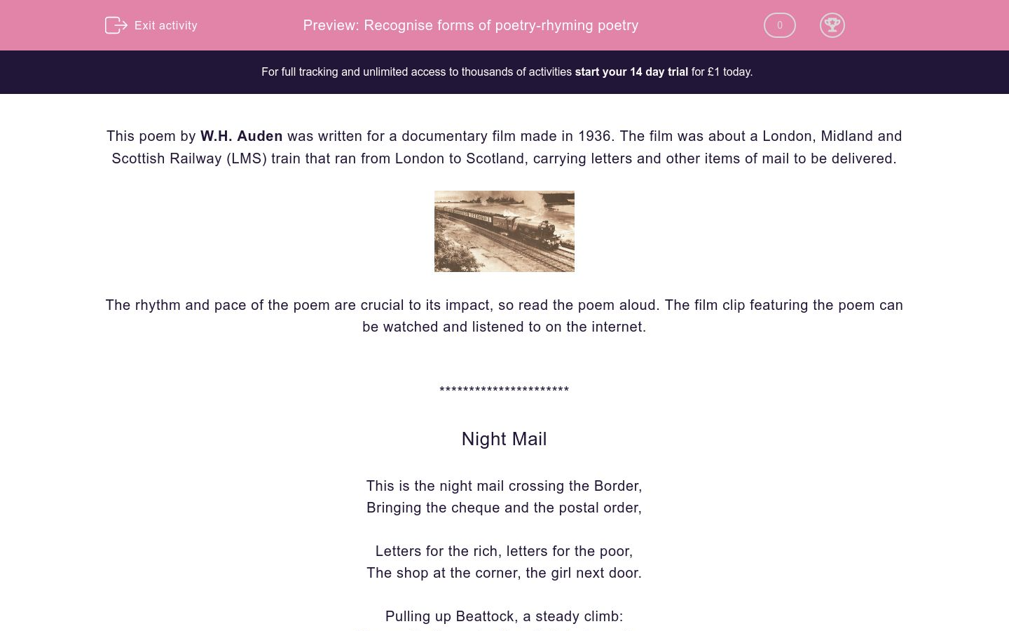 'Recognise forms of poetry-rhyming poetry' worksheet