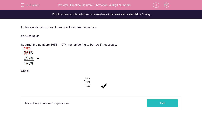 'Practise Column Subtraction: 4-Digit Numbers' worksheet