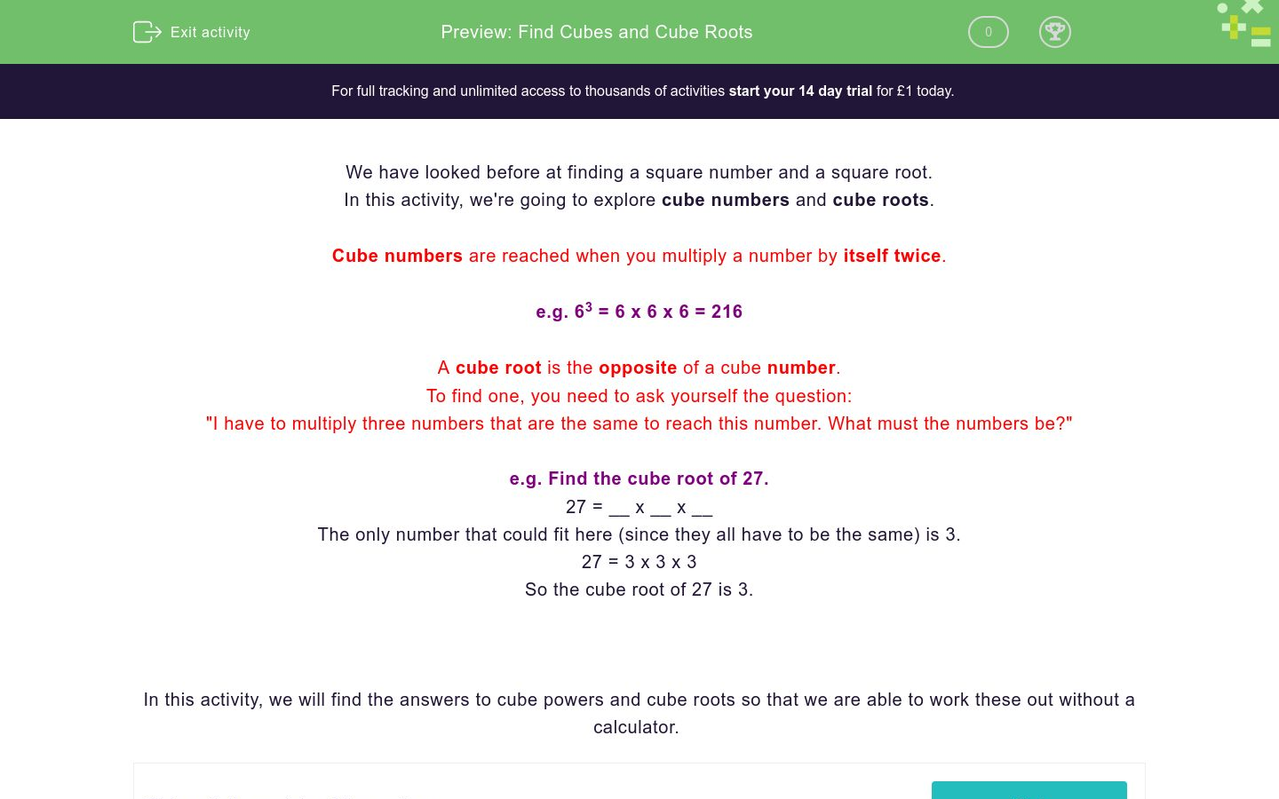 'Find Cubes and Cube Roots' worksheet