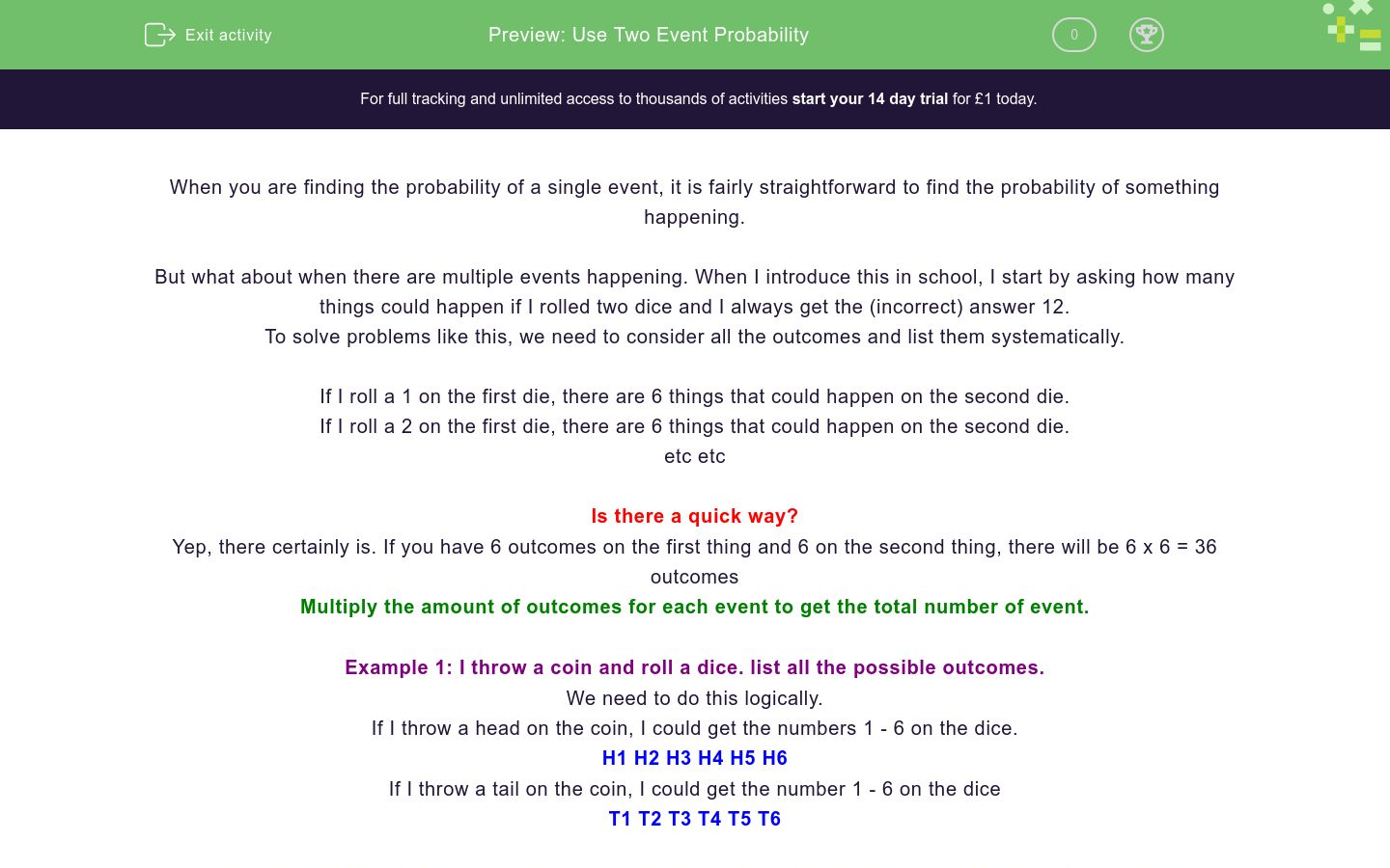 'Understand Two Event Probability' worksheet