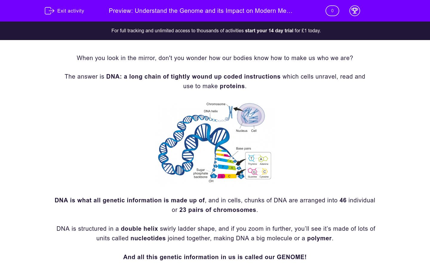 'Understand the Genome and its Impact on Modern Medicine' worksheet