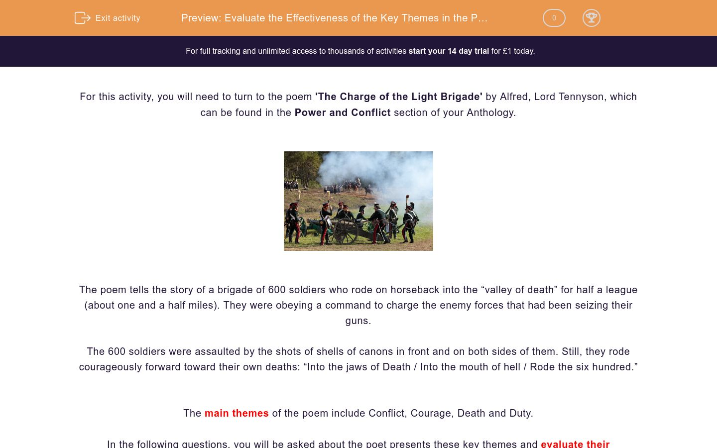 'Evaluate the Effectiveness of the Key Themes in the Poem 'The Charge of the Light Brigade'' worksheet