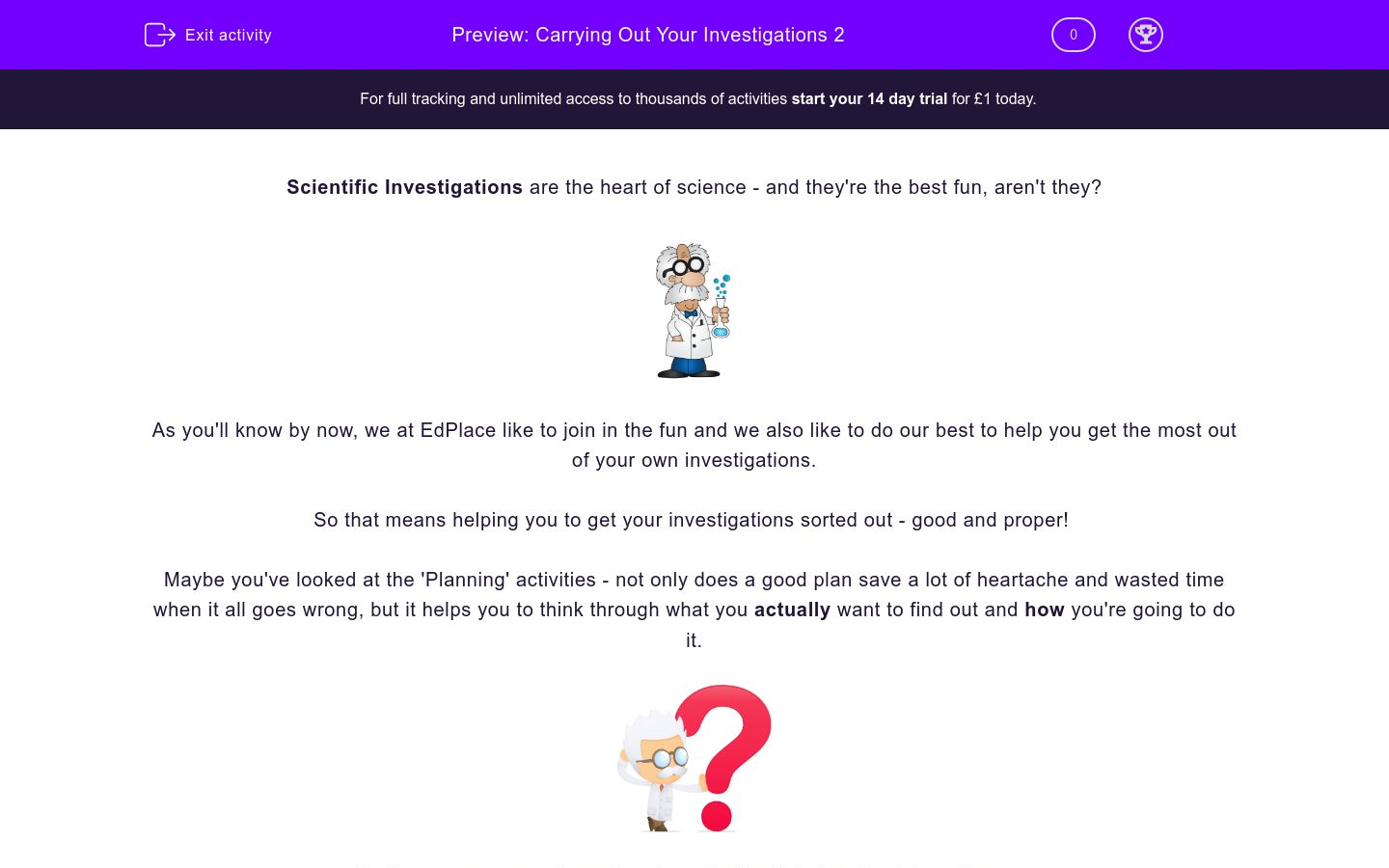 'Carrying Out Your Investigations 2' worksheet