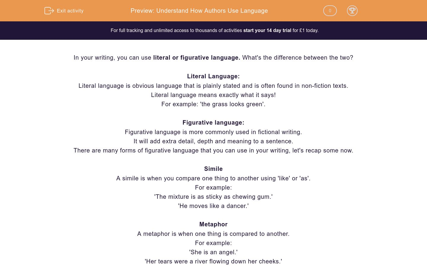 'Understand How Authors Use Language' worksheet