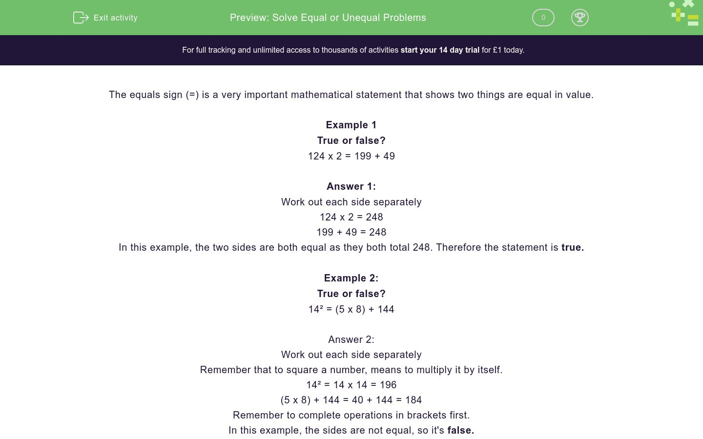 'Solve Equal or Unequal Problems' worksheet
