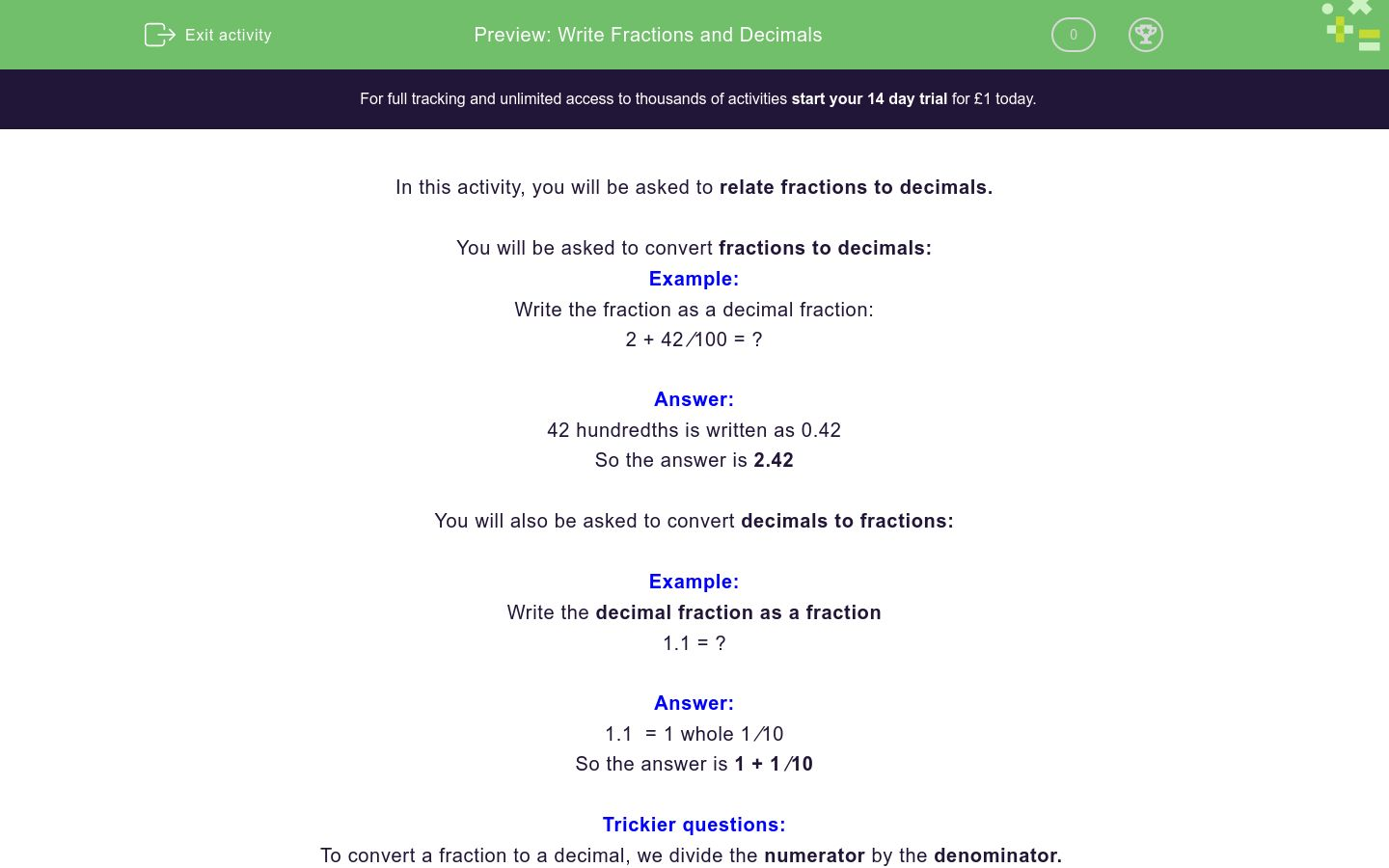 'Write Fractions and Decimals' worksheet