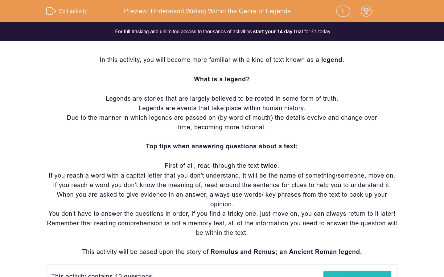 'Understand Writing Within the Genre of Legends' worksheet