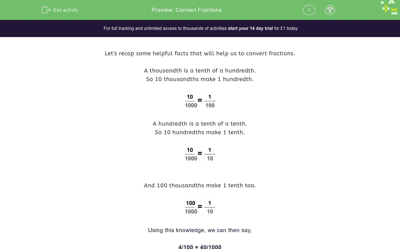 'Convert Fractions' worksheet