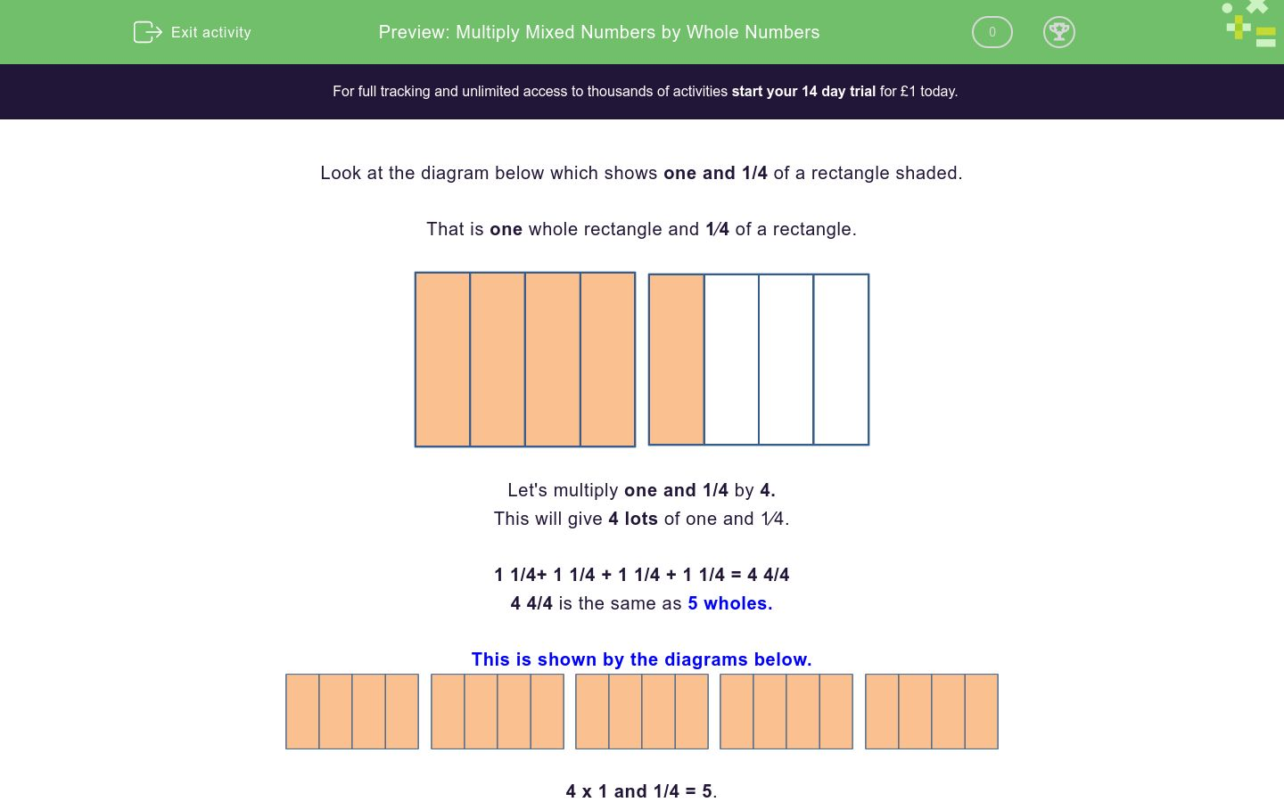 'Multiply Mixed Numbers by Whole Numbers' worksheet