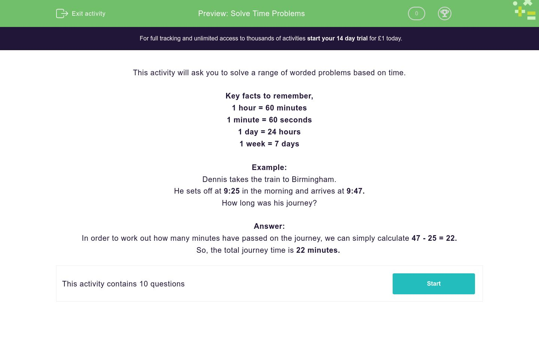 'Solve Time Problems ' worksheet