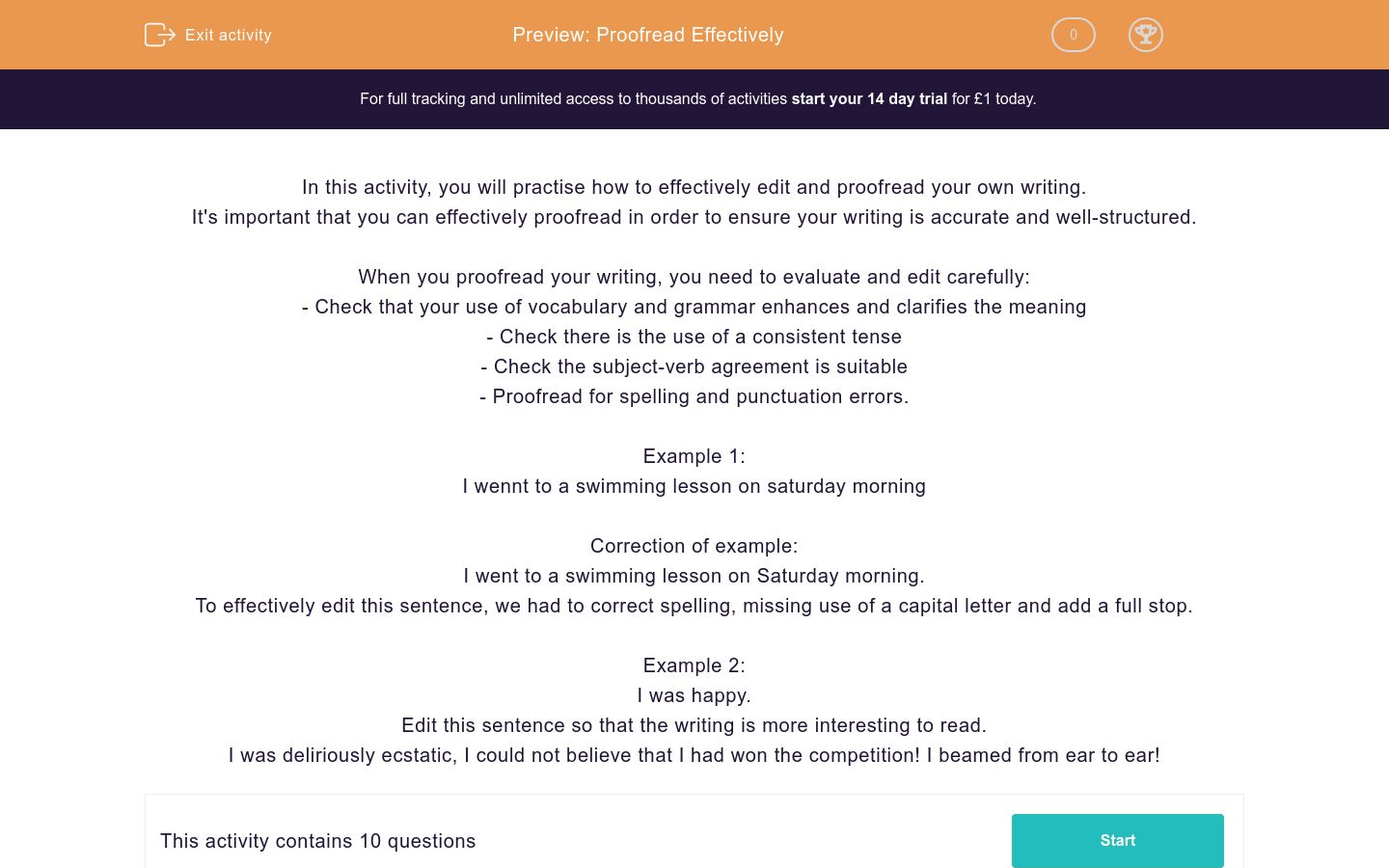 'Proofread Effectively ' worksheet