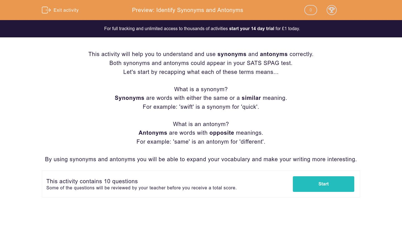 'Identify Synonyms and Antonyms' worksheet
