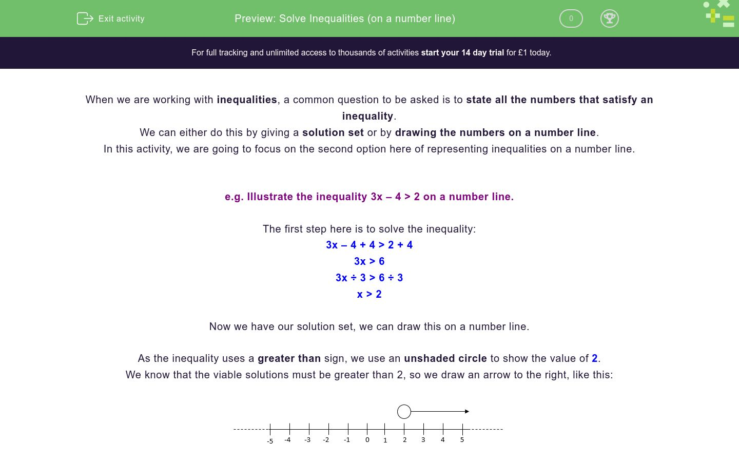 'Solve Inequalities (on a number line)' worksheet