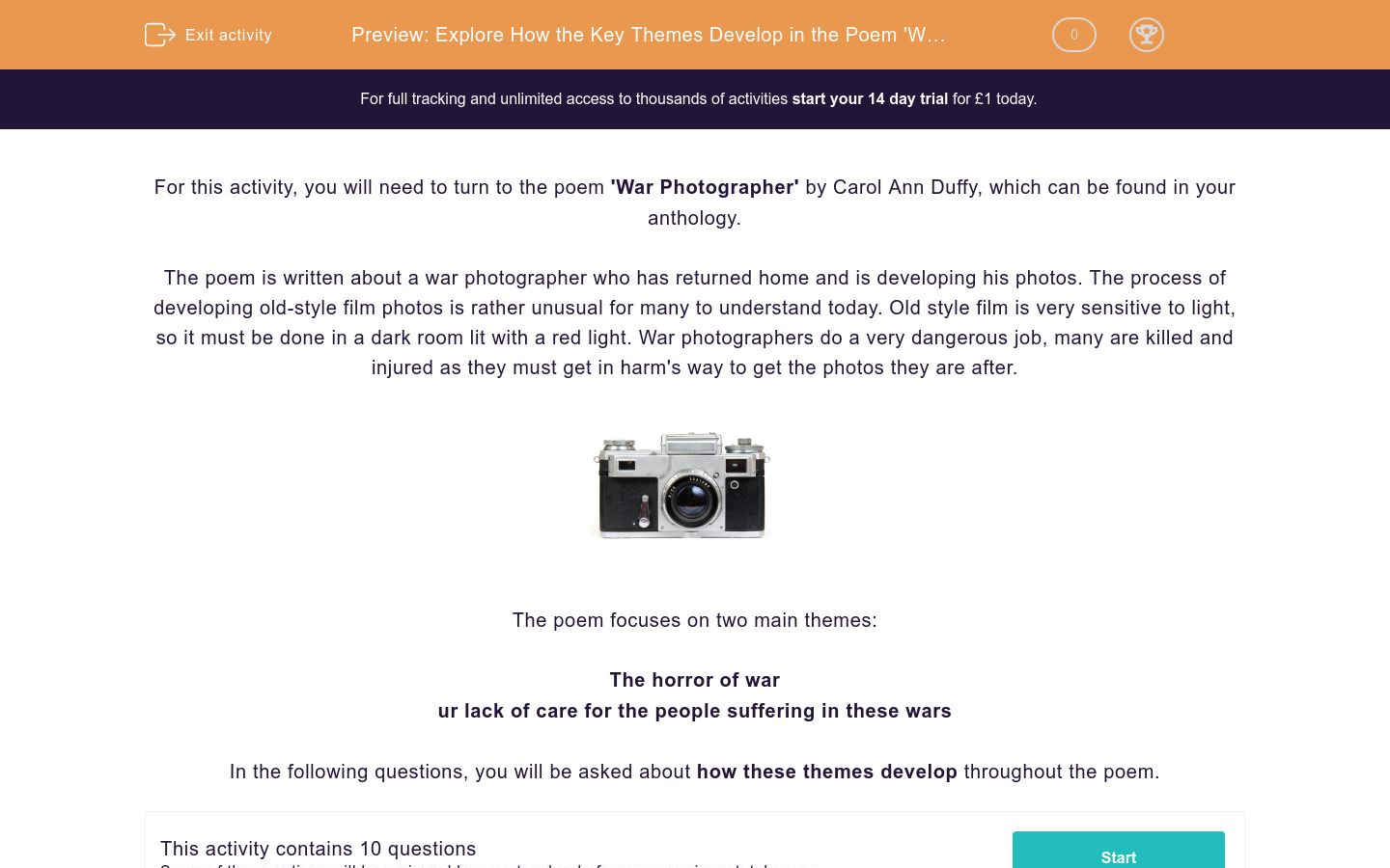'Explore How the Key Themes Develop in the Poem 'War Photographer' by Carol Ann Duffy' worksheet