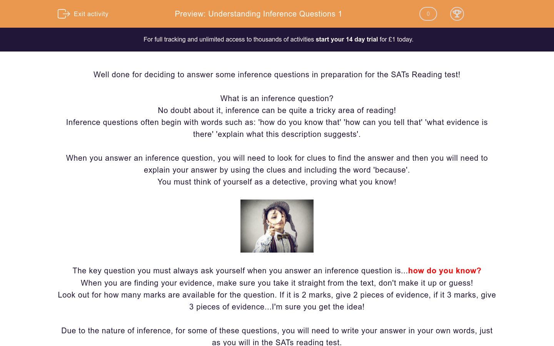 'Understanding Inference Questions 1' worksheet