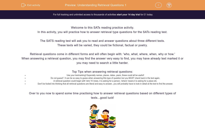 'Understanding Retrieval Questions 1' worksheet