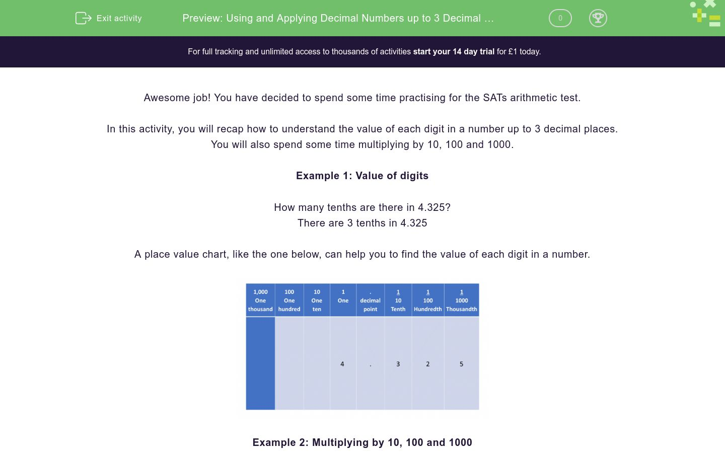 'Using and Applying Decimal Numbers up to 3 Decimal Places' worksheet