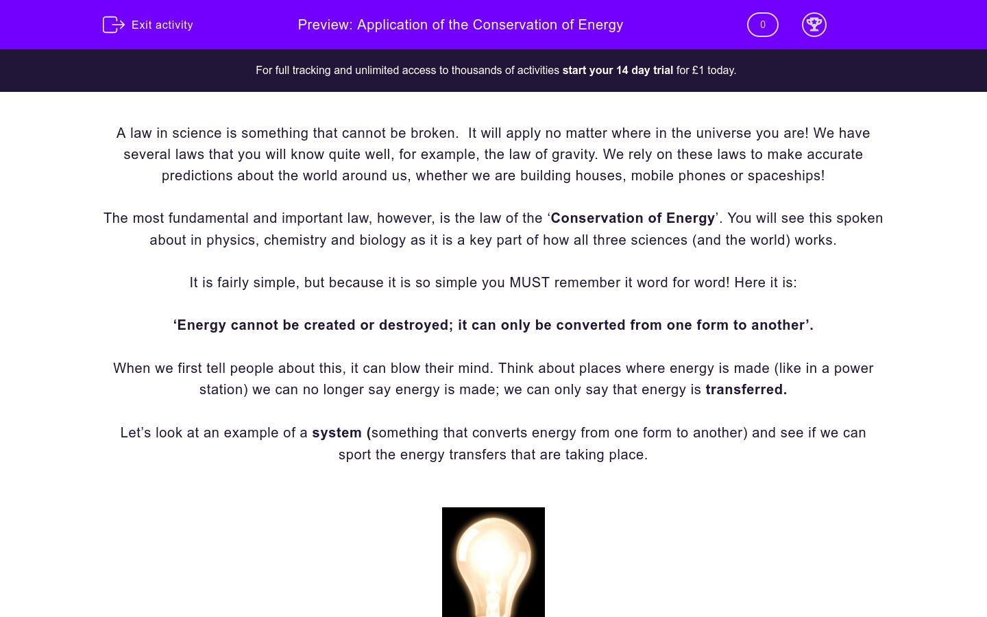 'Application of the Conservation of Energy' worksheet